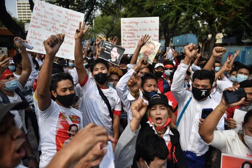 Myanmar migrants protesting against the military coup in Bangkok, on Feb 7, 2021.