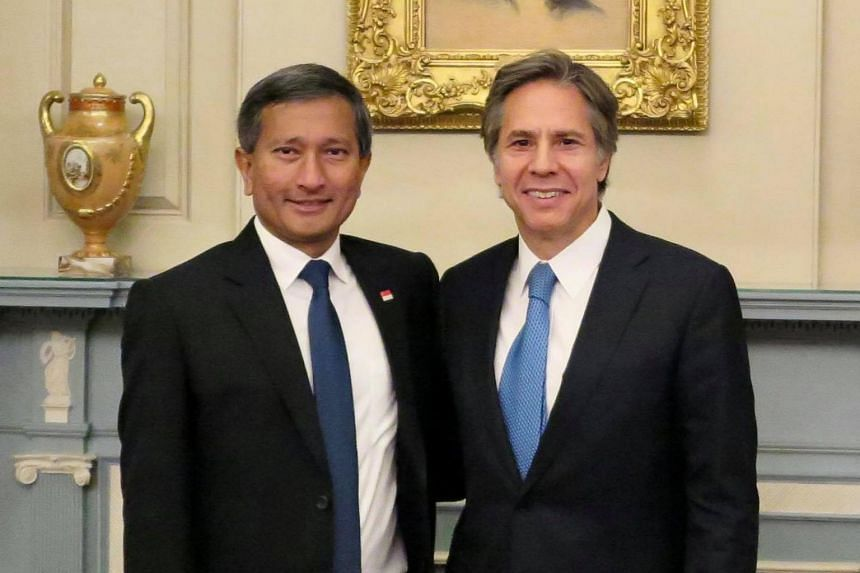 A photo from 2016 showing Foreign Minister Vivian Balakrishnan with US Secretary of State Antony Blinken at the State Department in Washington DC.