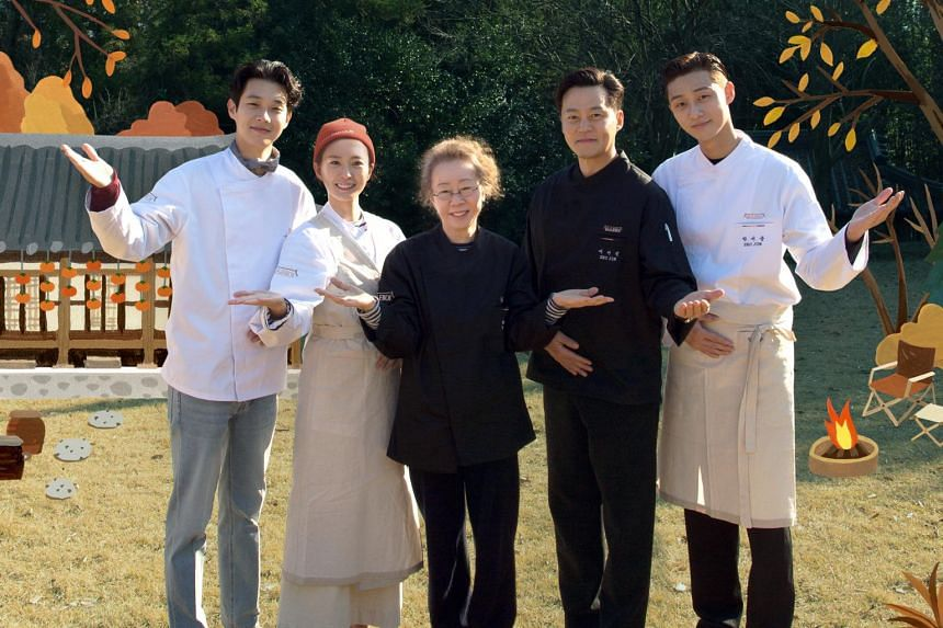 (From left) Choi Woo-shik, Jung Yu-mi, Youn Yuh-jung, Lee Seo-jin and Park Seo-jun welcoming guests to their homestay experience in Youn Stay.