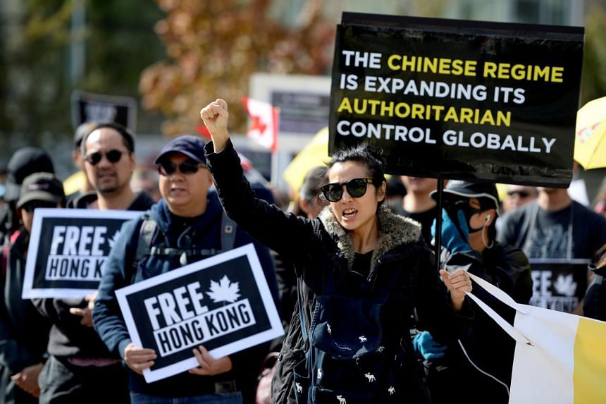 Supporters hold a rally in solidarity with Hong Kong protesters in Vancouver on Sept 29, 2019.