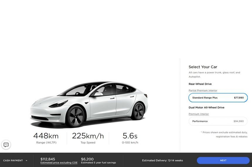 The Model 3 Standard Range, according to Tesla's Singapore site, will go for around $113,000 before certificate of entitlement. The prices listed are lower than what parallel importers have been charging.
