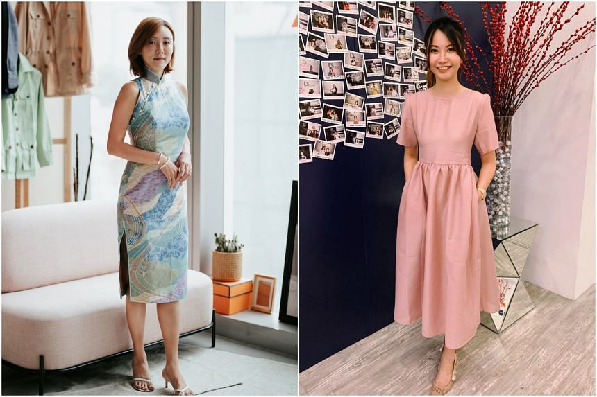Ms Lyn Kua (left) and Ms Lum Yang Xi pose in their Chinese New Year OOTDs.