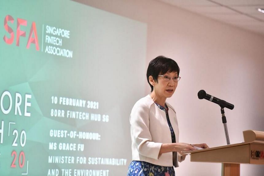 Minister for Sustainability and the Environment Grace Fu at the Singapore FinTech Association's Singapore FinTech Awards on Feb 10, 2021.