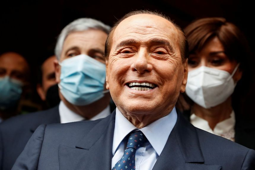 Berlusconi arrives for talks on forming a new Italian government in Rome, Feb 9, 2021.