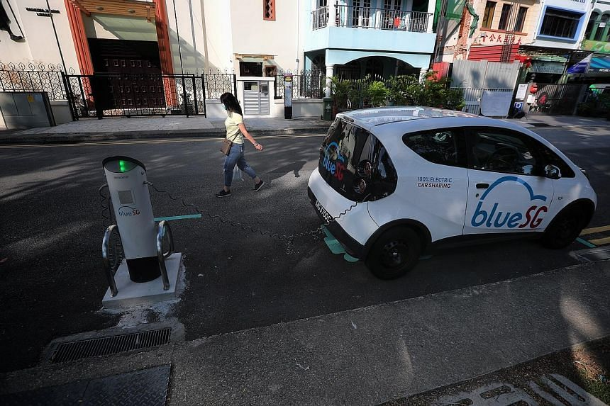 """An electric vehicle charging point. The Government said all new cars registered from 2030 will have to be """"cleaner-energy models"""", but did not specify what these are."""