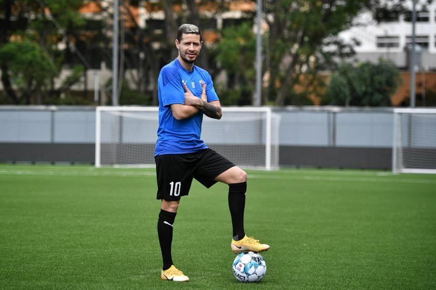 Lion City Sailors' Brazilian midfielder Diego Lopes at Jalan Besar Stadium on Feb 8, 2021.