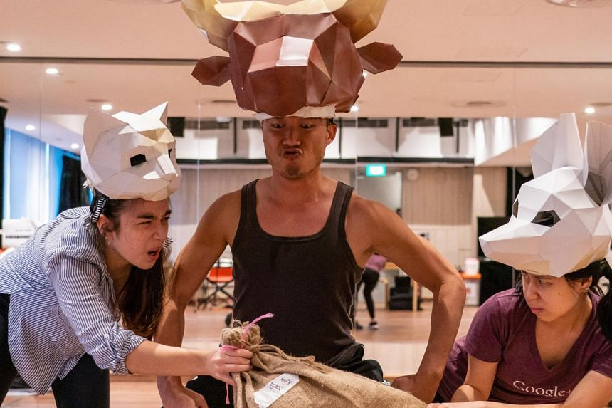 A rehearsal photo from The Amazing Celestial Race featuring (from left) Tia Andrea Guttensohn, Andrew Lua and Victoria Chen.