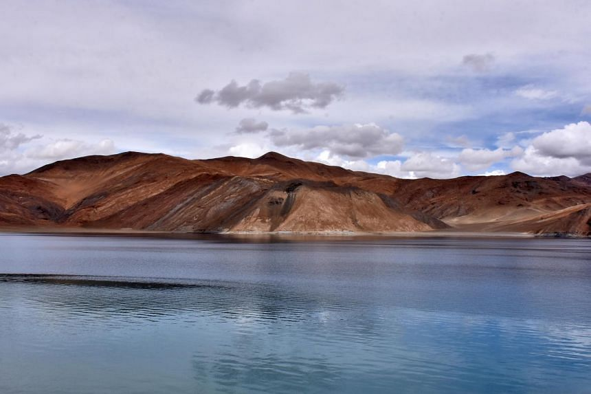 The Pangong Lake sits at about 14,000 feet in the Ladakh region.