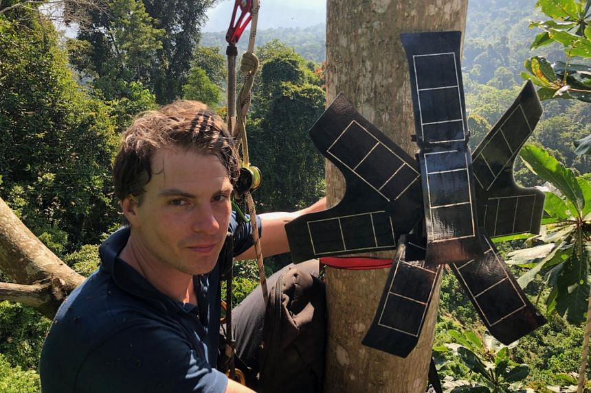 Rainforest Connection CEO Topher White installing a Guardian in the Pasir Talang Timur forest in Indonesia.