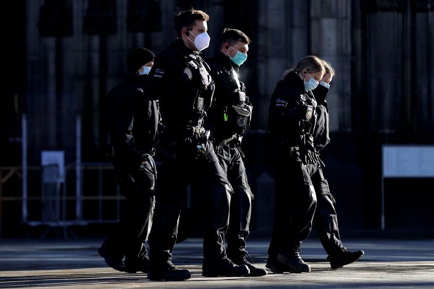Police officers are seen on patrol on Cologne, Germany.