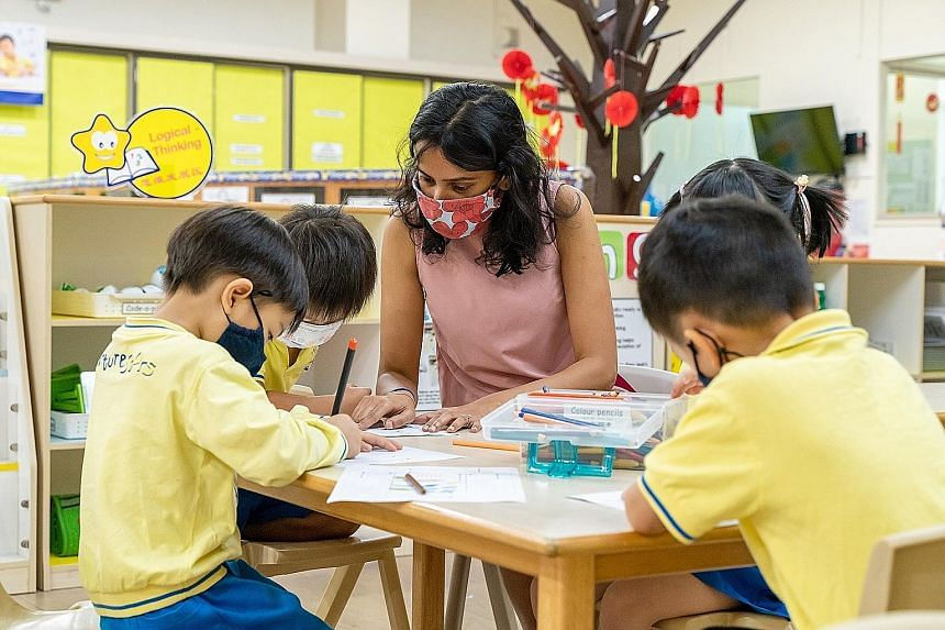 Ms Vanessa Ann-Mary Naidu, a teacher at NurtureStars Preschool at Safra Jurong, said children learn best through activities that keep them engaged, and that the art jam session allows children to express themselves and apply what they have learnt.