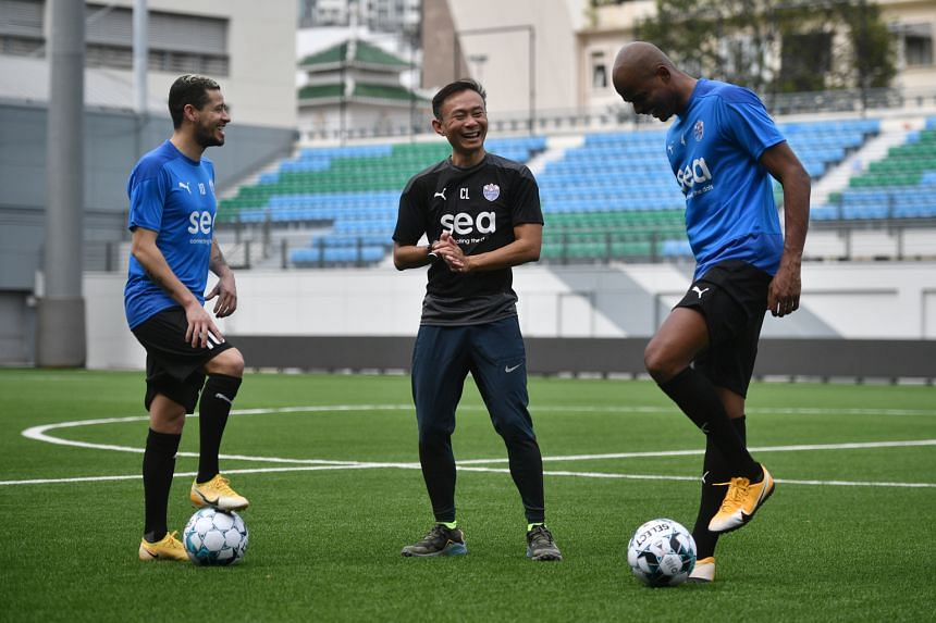 Lion City Sailors chief executive officer Chew Chun-Liang with the club's Brazilian signings, creative midfielder Diego Lopes (far left) and defender Jorge Fellipe, at Jalan Besar Stadium on Monday. The team, who also have many Singapore internationa