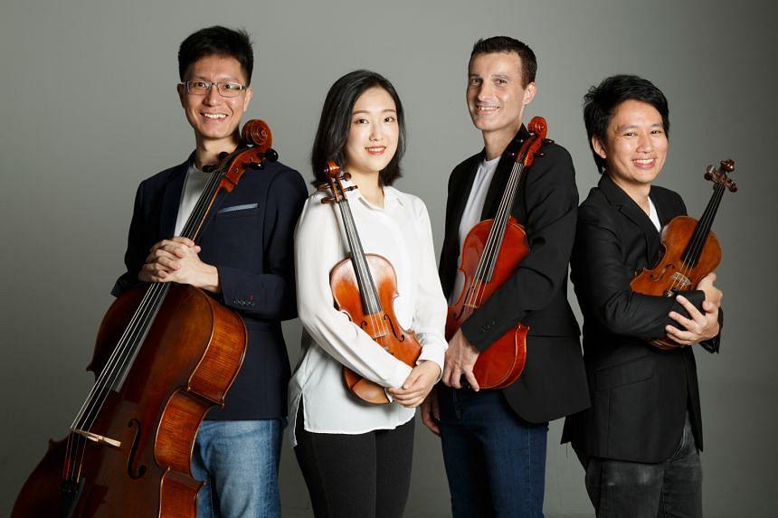 The Concordia Quartet comprises (from left) Theophilus Tan, Kim Kyu-ri, Matthias Ostringer and Edward Tan.
