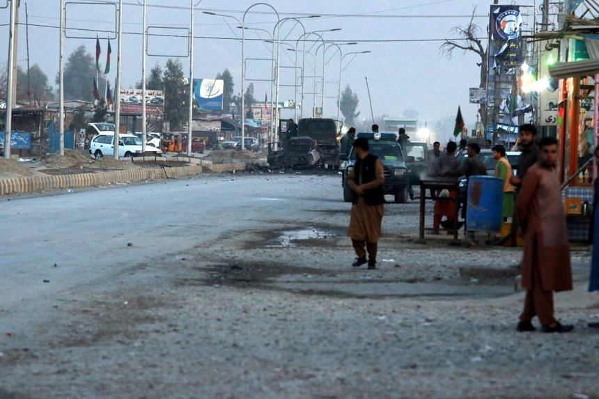 A view of the scene of a bomb blast that targeted vehicle of security officials in Jalalabad, Afghanistan, on Feb 11, 2021.