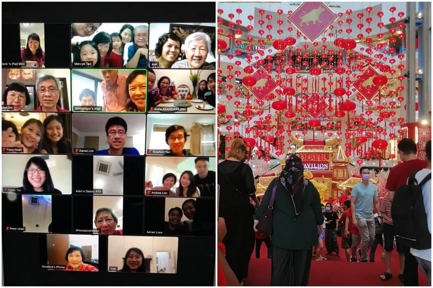 Many ethnic Chinese in Malaysia celebrated online while others while some brought their families to shop and eat out at malls.