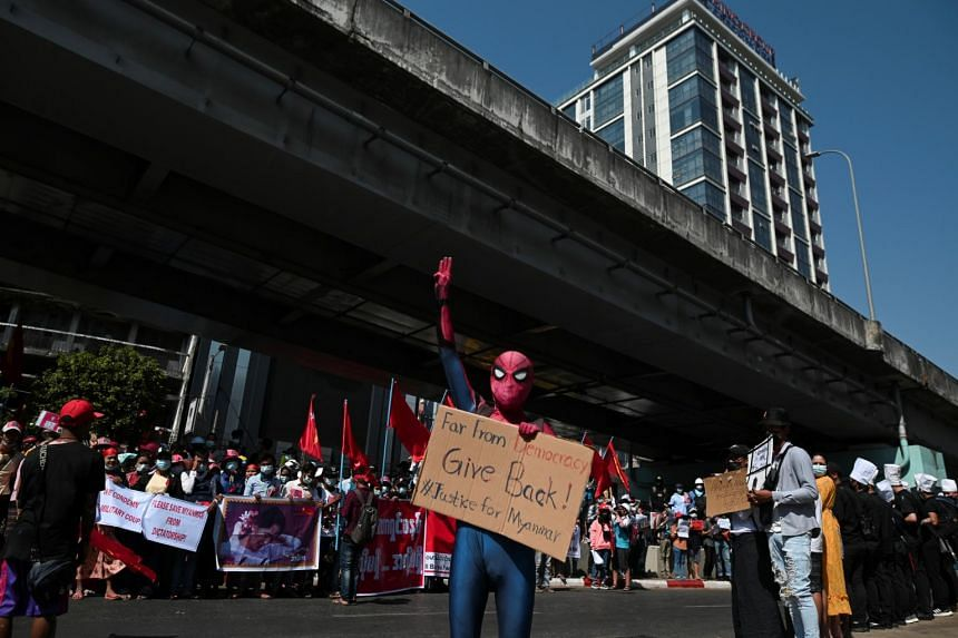 Spidey Htoo said he wore the superhero costume at protests to stay out of trouble amid a wave of arrests after the coup.