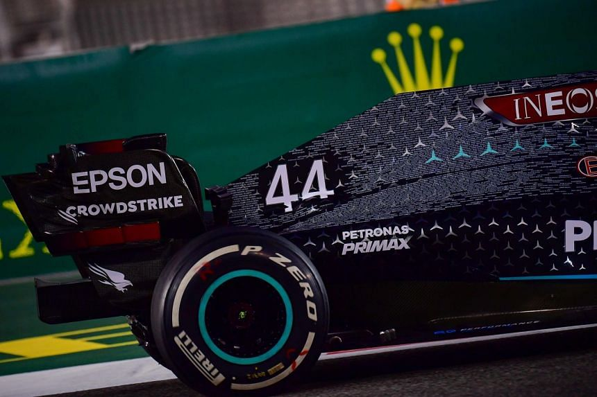 The rear of Mercedes driver Lewis Hamilton's car is seen during the Abu Dhabi grand prix in December 2020.