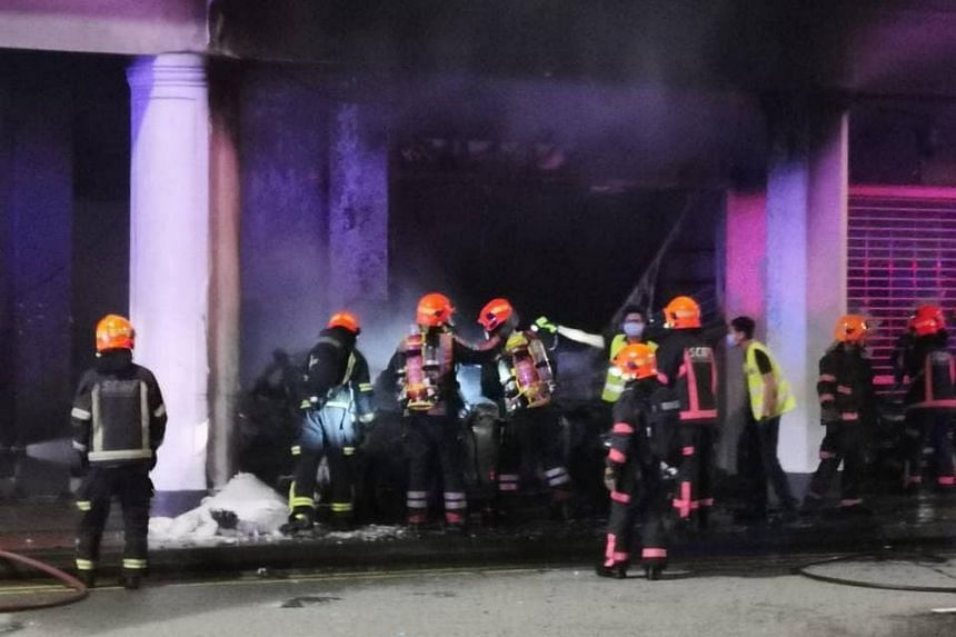 The SCDF said it was alerted to a fire at 37 Tanjong Pagar Rd at about 5.40am.