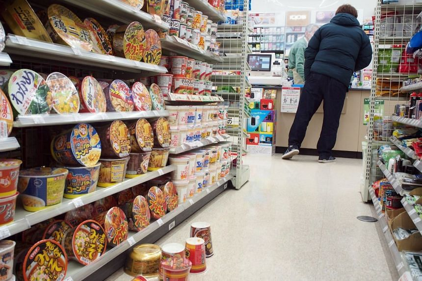 Products fell from shelves at a convenience store in Sendai, northeastern Japan.