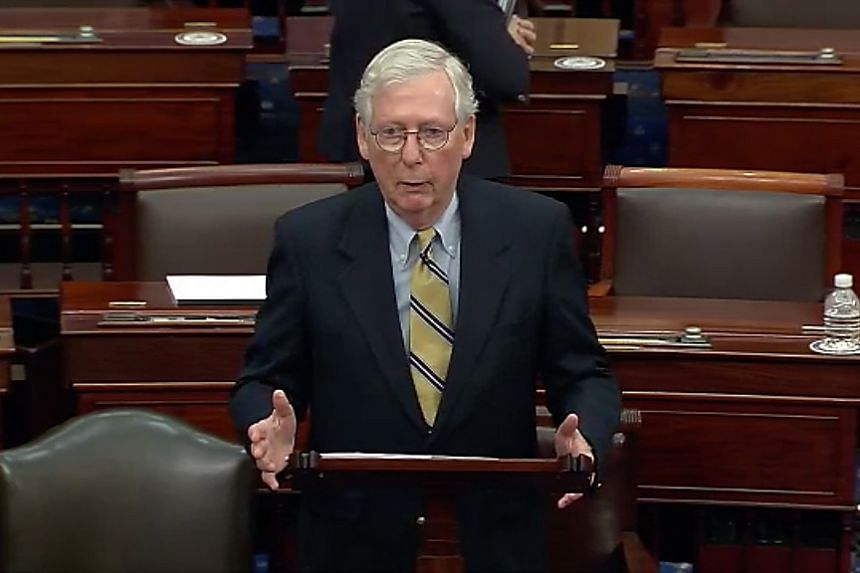 Mitch McConnell addresses the Senate following the impeachment acquittal of former US president Donald Trump.