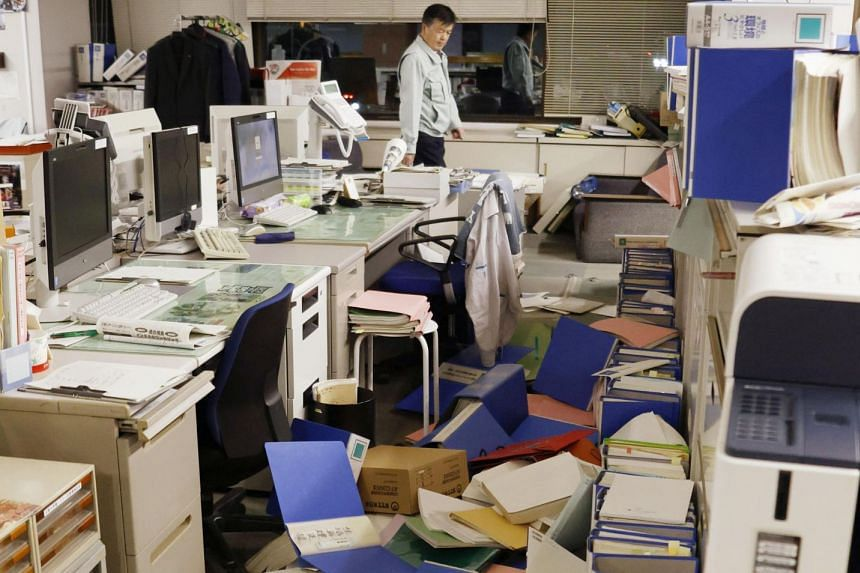 The Hirono town office in Fukushima Prefecture lies in disarray after the quake.