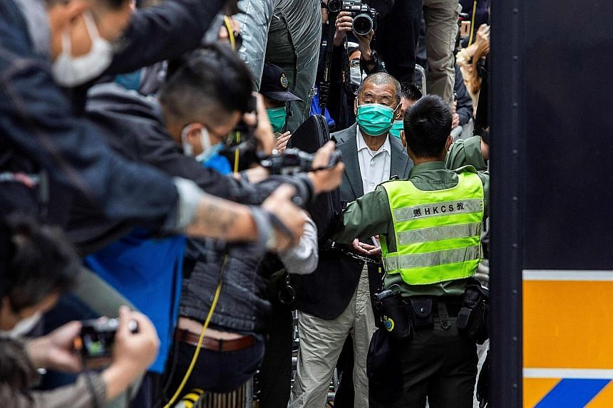 Hong Kong media tycoon Jimmy Lai leaving the Court of Final Appeal after his bail was denied in Hong Kong last Tuesday. Since Beijing's imposition of a new national security law last June to snuff out huge and often violent democracy protests, nearly
