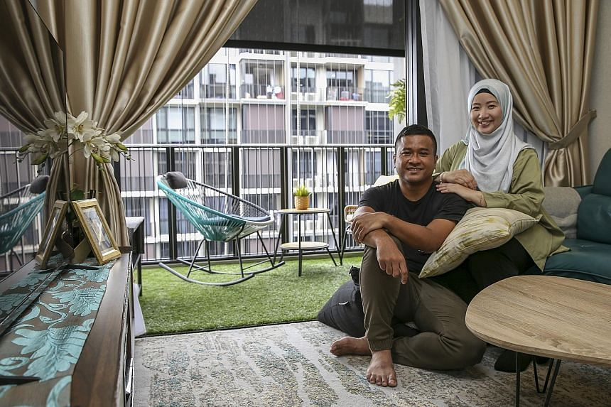 Emilia Wong and her husband Md Faizal Salim upgraded to a new three-room, 95 sq m condo at Le Quest in the west.