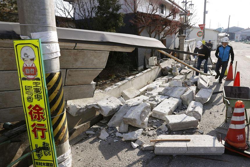 The 7.3 magnitude quake cracked walls, shattered windows and set off a landslide in Fukushima.