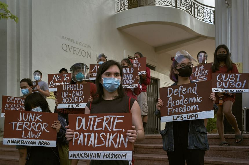 Protesters at the University of the Philippines in Quezon City on Jan 28, 2021.
