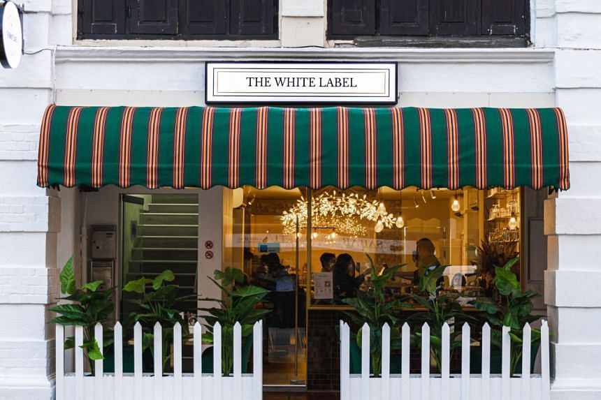The White Label (above) offers French cuisine for the Muslim crowd, with dishes such as Herb Crusted Lamb Rack and Tarte au Earl Grey.
