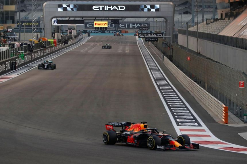 Red Bull's Dutch driver Max Verstappen drives during the Abu Dhabi Formula One Grand Prix on Dec 13, 2020.