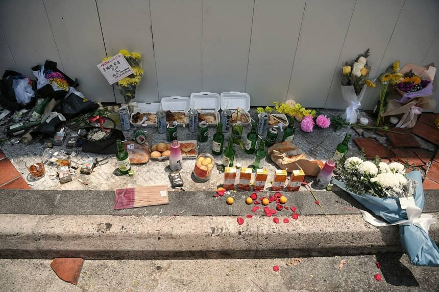 Offerings seen at the accident site on Feb 15, 2021.