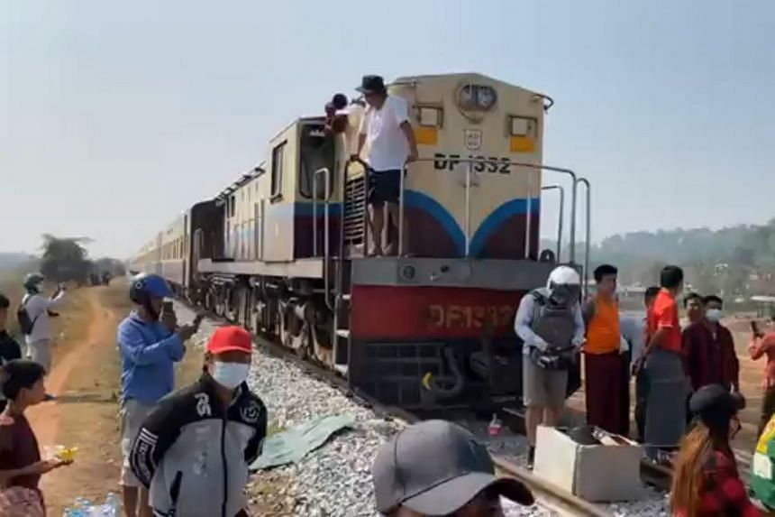 Protesters blocked train services between Yangon and the southern city of Mawlamyine.