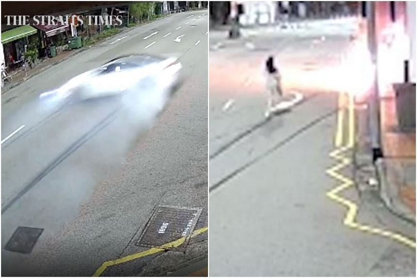 Ms Raybe Oh Siew Huey is seen running towards the burning car and right into the flames.