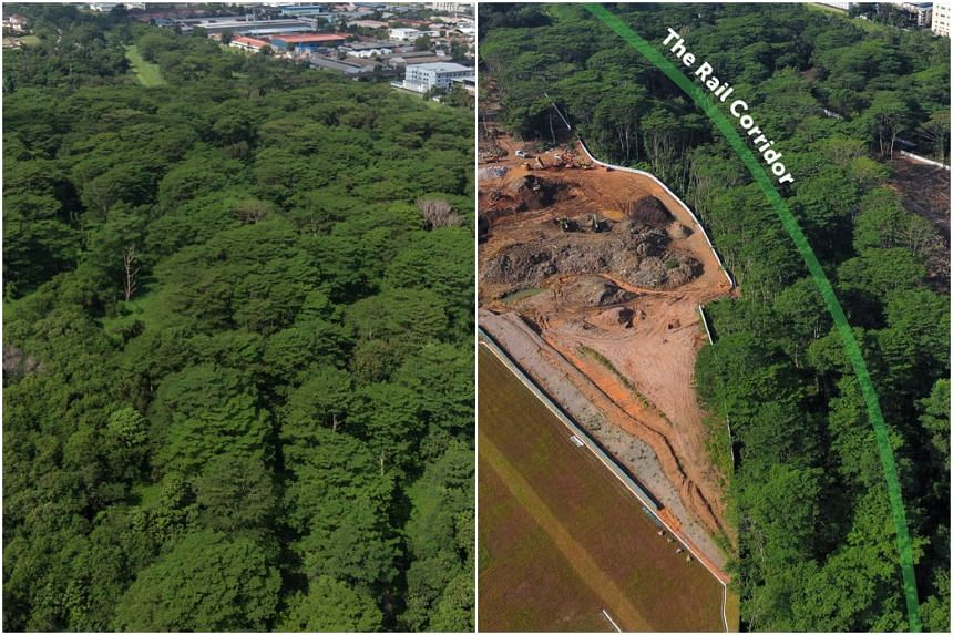 Kranji Woodlands in an aerial picture taken in May 2019 (left), and a picture taken in February 2021.