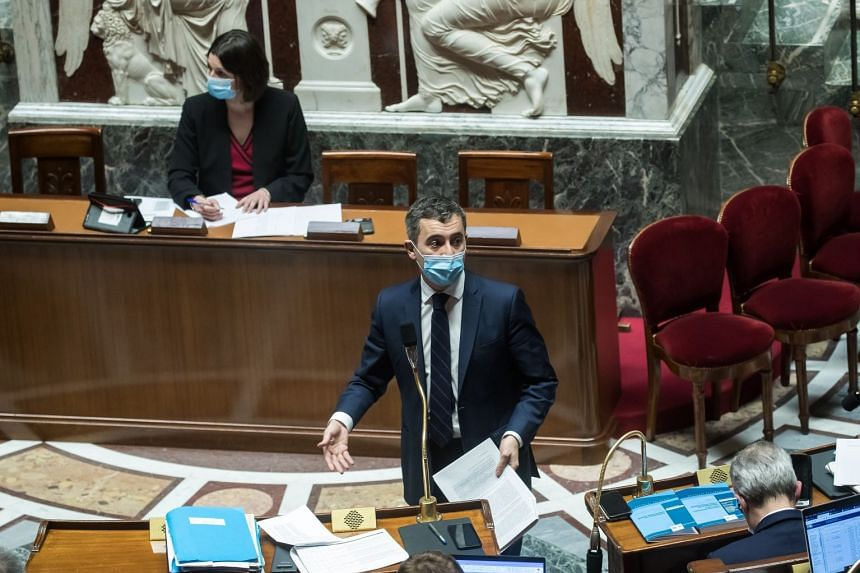 """French Interior minister Gerald Darmanin speaks during a debate on the Bill """"Principes Republicains"""" (Republican Principles) in Paris."""