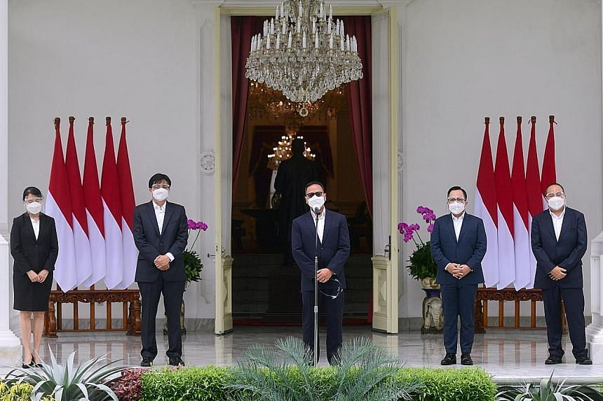 Mr Ridha Wirakusumah, who was named as the chief executive of Indonesia's new sovereign wealth fund, delivering his speech after the announcement of his appointment by President Joko Widodo at the Merdeka Palace in Jakarta yesterday.