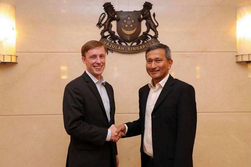 US National Security Adviser Jake Sullivan and Singapore Foreign Minister Vivian Balakrishnan in January 2018.