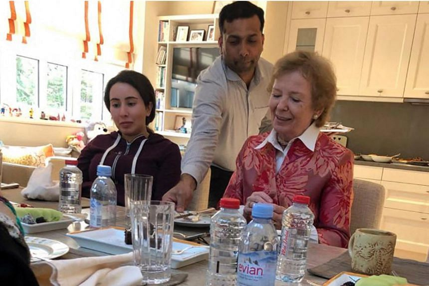 Sheikha Latifa (left) having a meal with Ms Mary Robinson, former president of Ireland, in Dubai, on Dec 24, 2018.