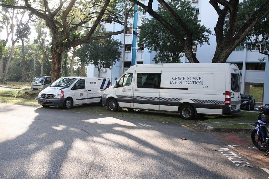 Police vehicles at the carpark between Block 307 and 308 at Jurong East Street 32.
