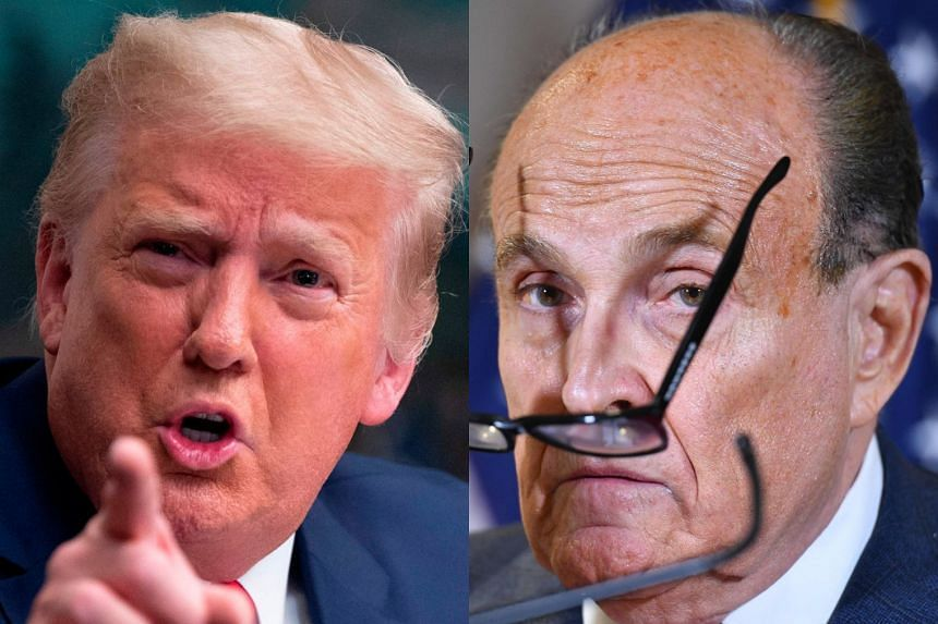 Democratic lawmaker Bennie Thompson filed the lawsuit against Trump (left) and Giuliani (right).