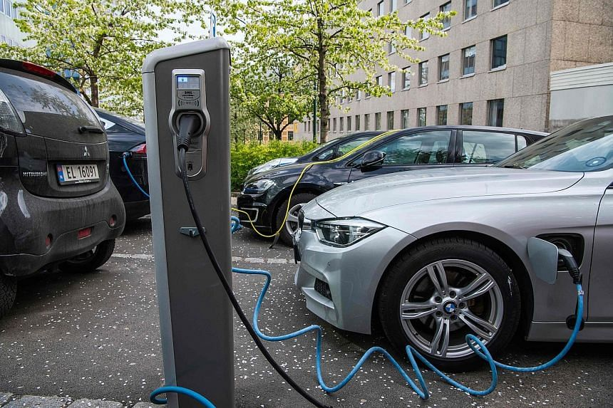 Cars charging in Norway. The European Union is subsidising battery production to avoid dependence on Asian suppliers.