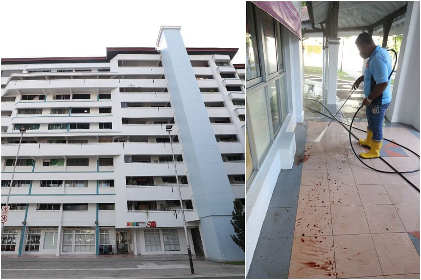 A woman was found lying motionless with multiple stab wounds at the void deck of Block 308 Jurong East Street 32.