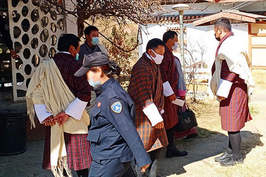 Defendants in the case appearing at the Thimphu district court on Feb 17, 2021.