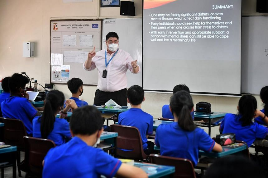 Mr Michael Francis Chow conducting a Character and Citizenship Education lesson on mental health at Serangoon Secondary School on Feb 18, 2021.