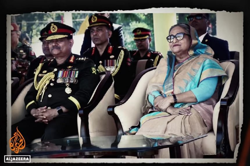 A screenshot from All The Prime Minister's Men, which details allegations that the country's security forces and Prime Minister Sheikh Hasina had links to a criminal gang.