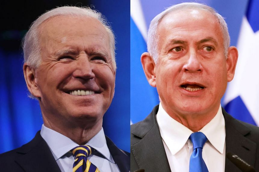Biden (left) and Netanyahu spoke for about an hour on issues including Iran and Israel's budding relations with Arab and Muslim countries in the region.