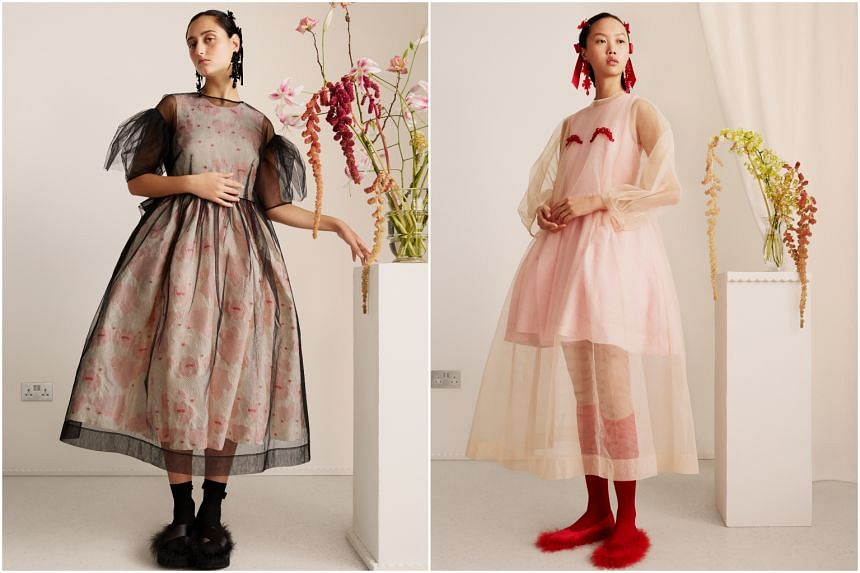 The womenswear pieces include frothy tulle dresses, puff sleeves, frills and girly embellishments in a palette of pinks, tartan and black.