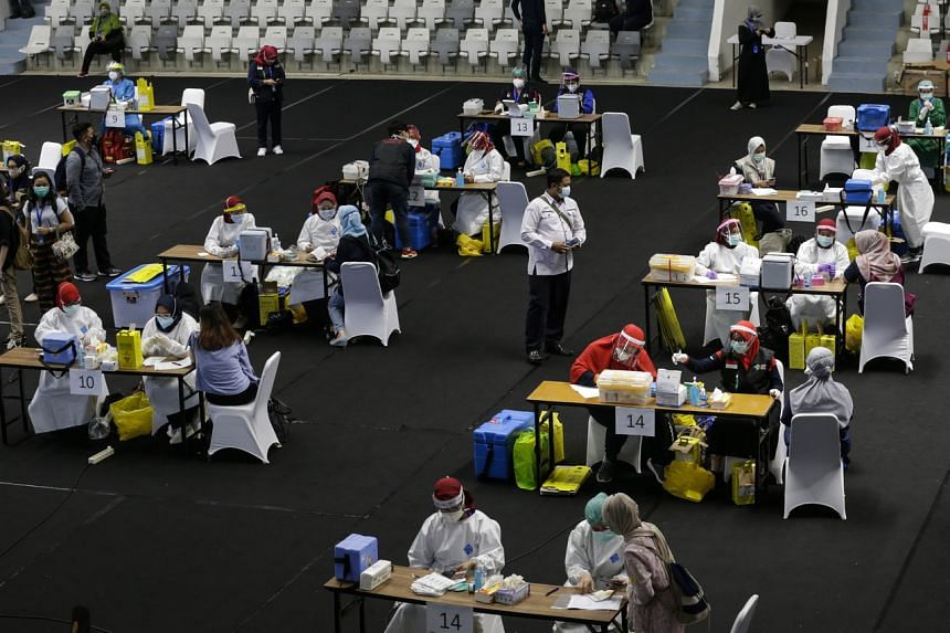 A mass Covid-19 vaccination drive for healthcare workers in Jakarta, Indonesia, on Feb 4, 2021.