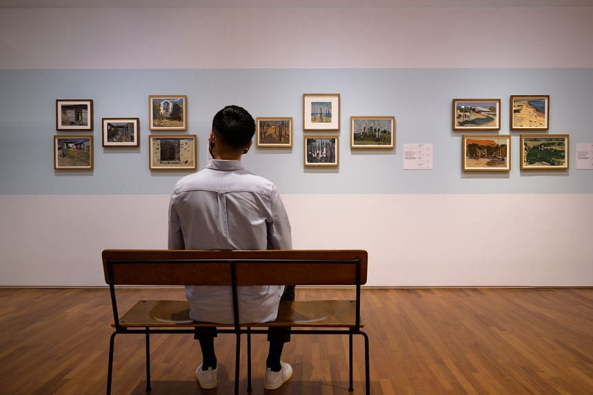 Artworks by Wu Guanzhong's students at the Wu Guanzhong: Learning From The Master exhibition at the National Gallery Singapore.